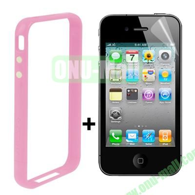 Dual Tone Bumper Case for iPhone 4S & 4 with Front and Back Screen Protector (Pink)