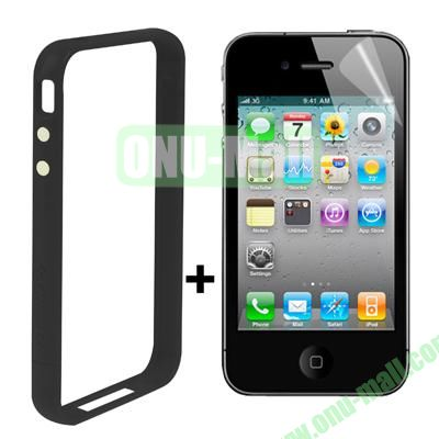Dual Tone Bumper Case for iPhone 4S & 4 with Front and Back Screen Protector (Black)
