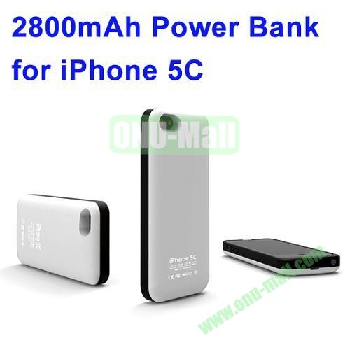 2800mAh Backup Battery Charger for iPhone 5C(White)