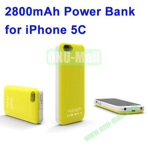 2800mAh Backup Battery Charger for iPhone 5C(Yellow)