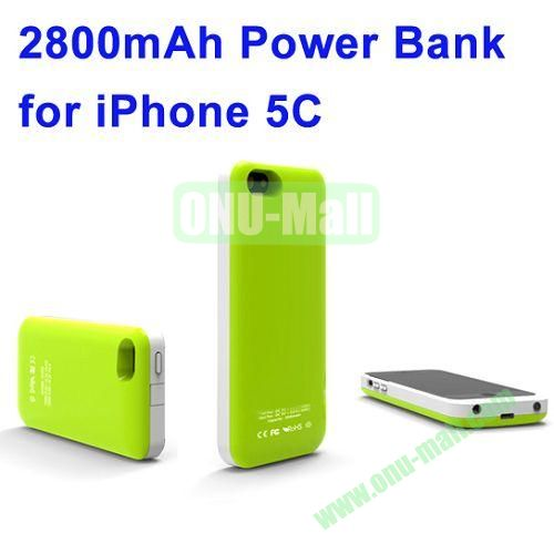 2800mAh Backup Battery Charger for iPhone 5C(Green)