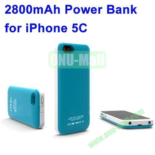 2800mAh Backup Battery Charger for iPhone 5C(Blue)