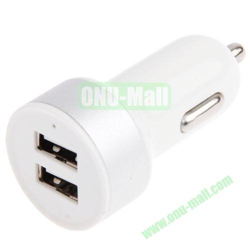 5V 2.1A Dual USB Car Charger Adapter for iPhone 5S  5  iPad Air  iPad 2  3  4  iPad mini  mini 2 Retina (White)