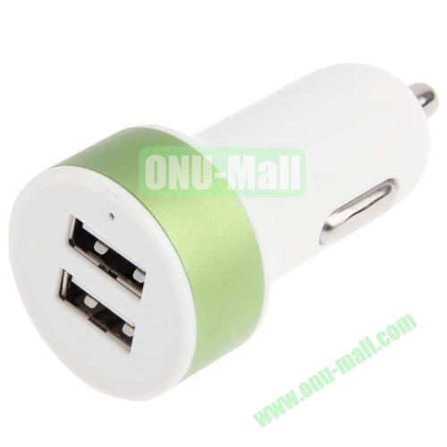 5V 2.1A Dual USB Car Charger Adapter for iPhone 5S  5  iPad Air  iPad 2  3  4  iPad mini  mini 2 Retina (Green)
