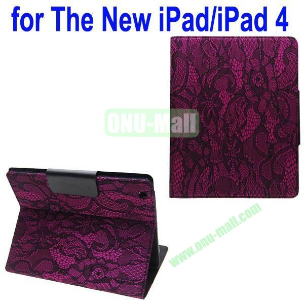 Bud silk Texture Leather Case for iPad 2the New iPadiPad 4 with 4 Gears Holder (Rose)