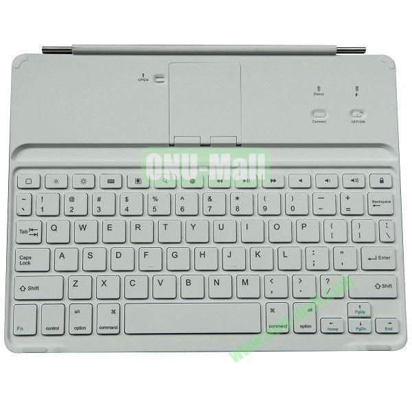 Ultrathin Magnet Aluminum Alloy Bluetooth Keyboard for iPad 2The New iPadiPad 4 (White)