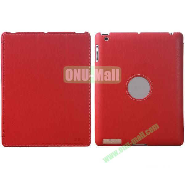 BELK 3-folding Smart Cover for iPad 234 with Wake-up Function and stand (Red)