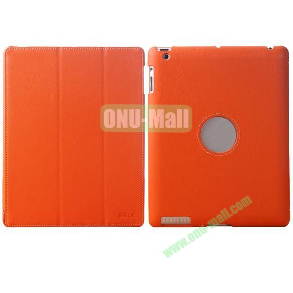 BELK 3-folding Smart Cover for iPad 234 with Wake-up Function and stand (Orange)