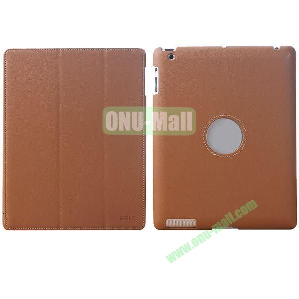 BELK 3-folding Smart Cover for iPad 234 with Wake-up Function and stand (Brown)