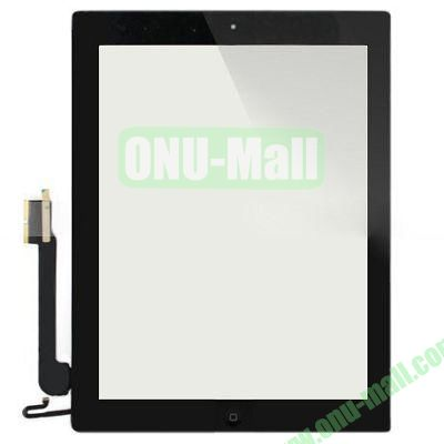 Replacement Digitizer Touch Screen Assembly for iPad 4 with Home Button+Home Button Flex Cable (Black)