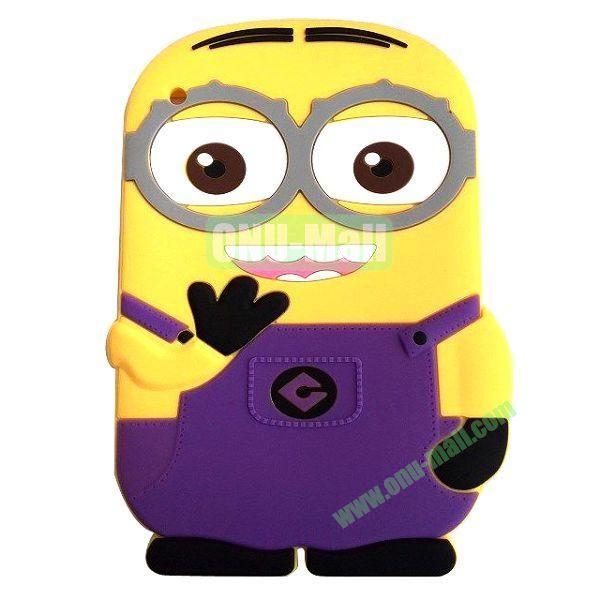 3D Cute Despicable Me Minion Silicon Case For the New iPad  iPad 4 (Purple)