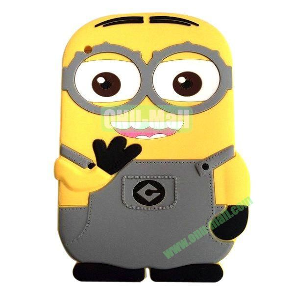 3D Cute Despicable Me Minion Silicon Case For the New iPad  iPad 4 (Grey)