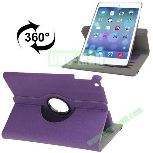 360 Degree Rotation Denim Texture Leather Case for iPad Air with 3 Gears Holder & Credit Card Slots & Sleep  Wake-up Function (Purple)
