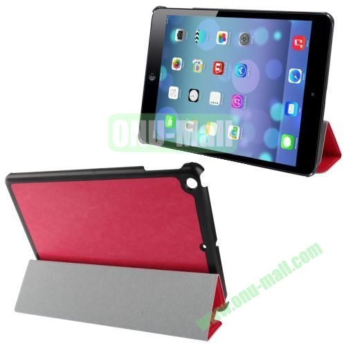 3-Folding Crazy Horse Texture Leather Case for iPad Air with Holder (Rose)
