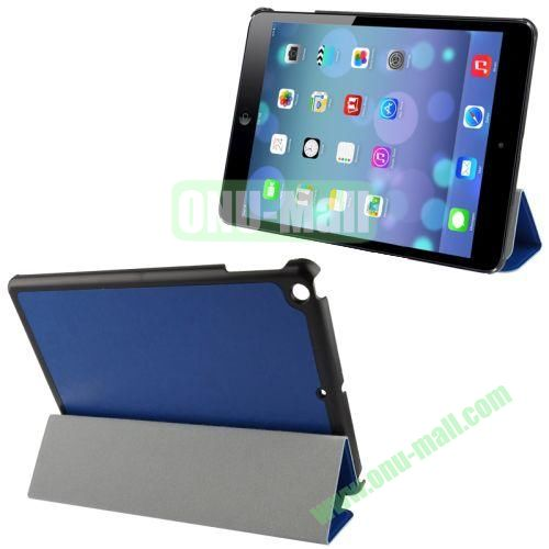 3-Folding Crazy Horse Texture Leather Case for iPad Air with Holder (Dark Blue)