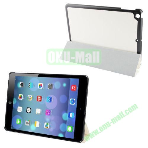 3-Folding Crazy Horse Texture Leather Case for iPad Air with Holder (White)
