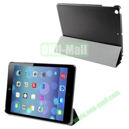 3-Folding Crazy Horse Texture Leather Case for iPad Air with Holder (Black)