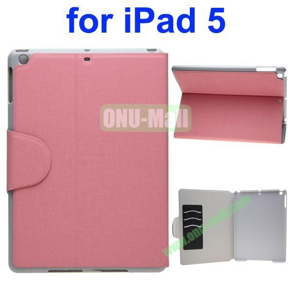 Oracle Texture Flip Leather Case for iPad Air with Holder and Credit Card Slots(Pink)