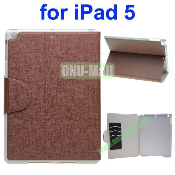 Oracle Texture Flip Leather Case for iPad Air with Holder and Credit Card Slots(Brown)