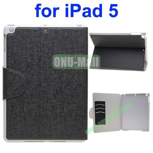 Oracle Texture Flip Leather Case for iPad Air with Holder and Credit Card Slots(Black)
