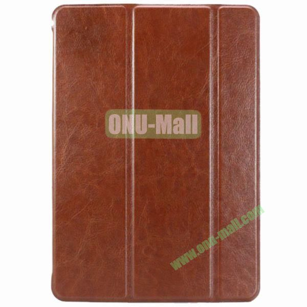 3 Folio Crazy Horse Texture Leather Case for iPad Air(Brown)