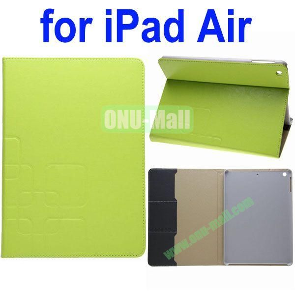 Grid Pattern Crazy Horse Texture Leather Case for iPad Air with Holder and Card Slots(Green)