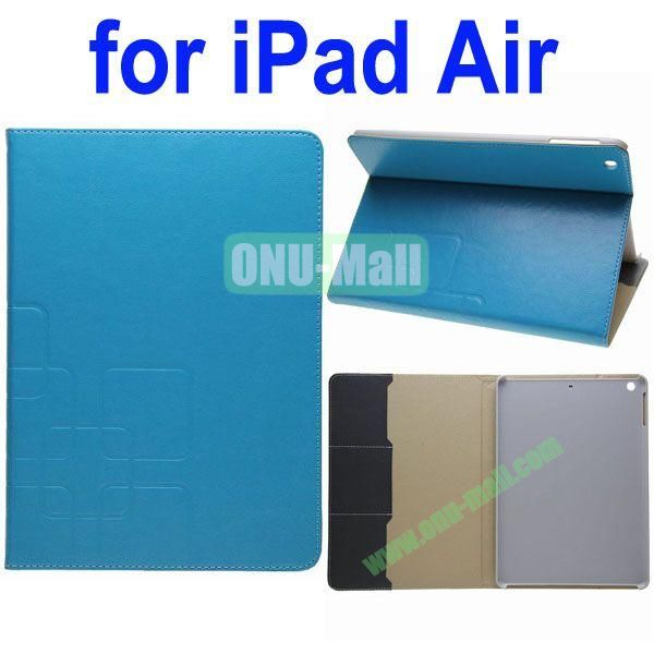 Grid Pattern Crazy Horse Texture Leather Case for iPad Air with Holder and Card Slots(Blue)