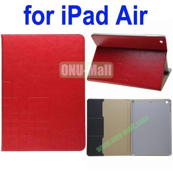 Grid Pattern Crazy Horse Texture Leather Case for iPad Air with Holder and Card Slots(Red)