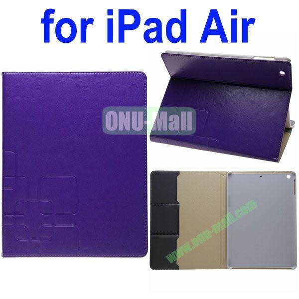 Grid Pattern Crazy Horse Texture Leather Case for iPad Air with Holder and Card Slots(Purple)