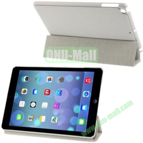 3-Folding Small Plaid Texture Leather Case for iPad Air with Holder(Grey)