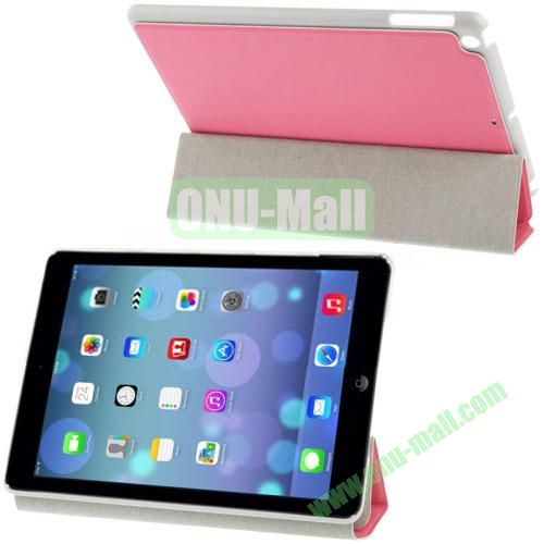 3-Folding Small Plaid Texture Leather Case for iPad Air with Holder(Pink)