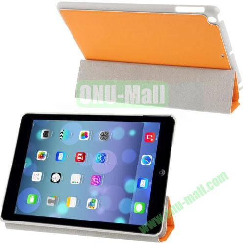 3-Folding Small Plaid Texture Leather Case for iPad Air with Holder(Orange)