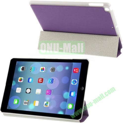 3-Folding Small Plaid Texture Leather Case for iPad Air with Holder(Purple)