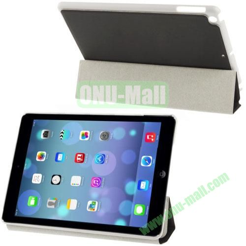 3-Folding Small Plaid Texture Leather Case for iPad Air with Holder(Black)