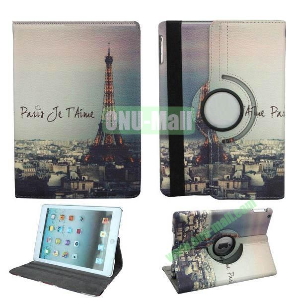 Eiffel Tower Pattern 360 Degree Rotation Leather Case for iPad Air with Holder and Sleep  Wake-up Function