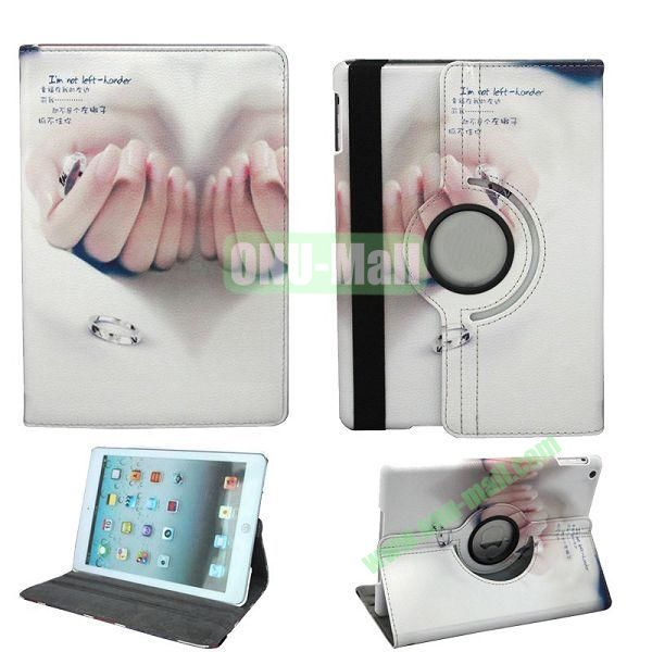 Hand Pattern 360 Degree Rotation Leather Case for iPad Air with Holder and Sleep  Wake-up Function