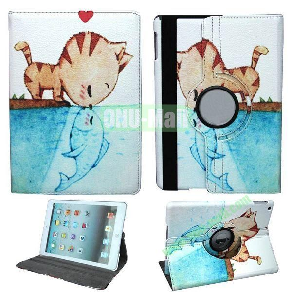 Lovely Cat Pattern 360 Degree Rotation Leather Case for iPad Air with Holder and Sleep  Wake-up Function