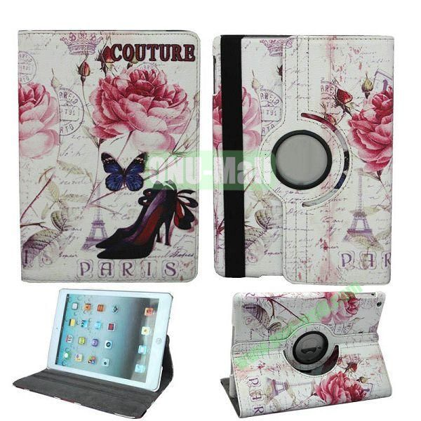 Butterfly Pattern 360 Degree Rotation Leather Case for iPad Air with Holder and Sleep  Wake-up Function