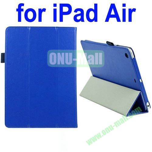 Crazy Horse Texture 3 Folding Flip Genuine Leather Case for iPad Air with Pen Holder and SleepWake up Function(Blue)