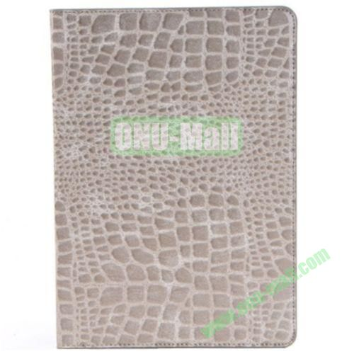 Crocodile Texture Leather Case for iPad Air wirh Holder(Grey)