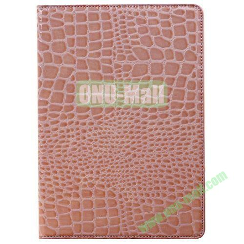 Crocodile Texture Leather Case for iPad Air wirh Holder(Pink)