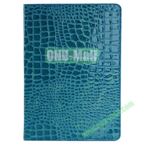 Crocodile Texture Leather Case for iPad Air wirh Holder(Blue)