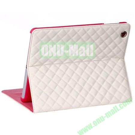 Rhombus Style sheepskin Leather Case Cover with 3 Angles Stand for iPad Air (White)