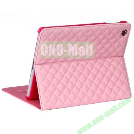 Rhombus Style sheepskin Leather Case Cover with 3 Angles Stand for iPad Air (Pink)
