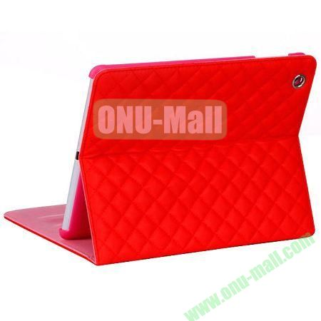 Rhombus Style sheepskin Leather Case Cover with 3 Angles Stand for iPad Air (Red)