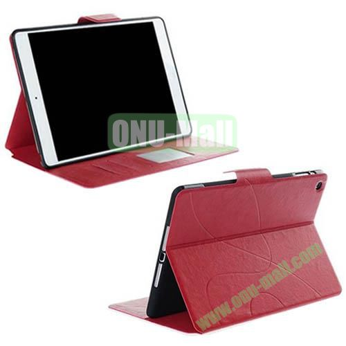 Special Embossed Design Style Crazy Horse Leather Case Cover for iPad Air with Card Slots and Stand (Red)