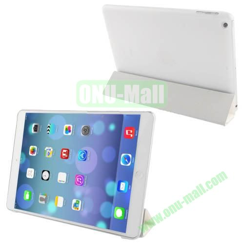 4-folding Hairline Texture Smart Leather Cover Frosted Plastic Case for iPad Air (White)