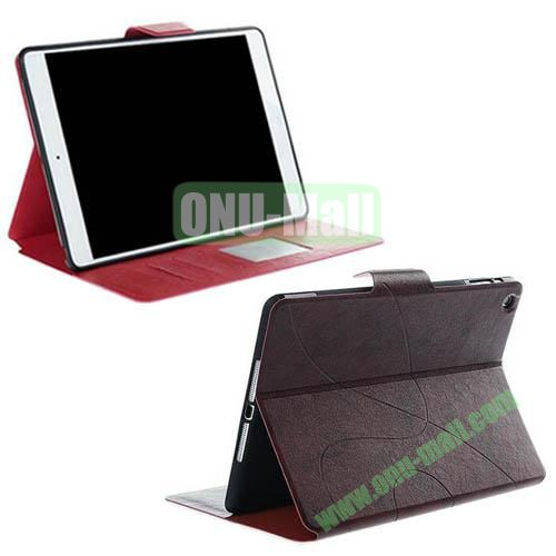 Special Embossed Design Style Crazy Horse Leather Case Cover for iPad Air with Card Slots and Stand (Coffee)