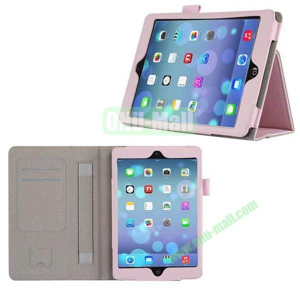 New Arrival Genuine Leather Case for iPad Mini Retina with Card Slots and Holder & Armband (Pink)