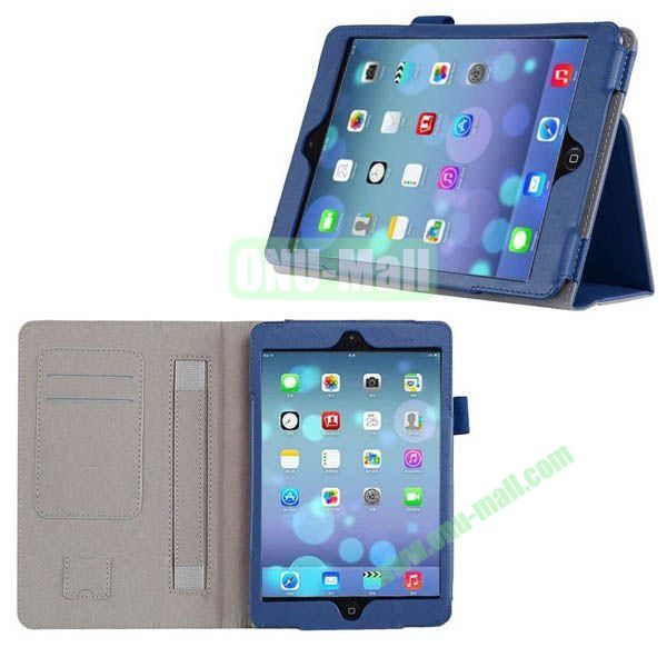 New Arrival Genuine Leather Case for iPad Mini Retina with Card Slots and Holder & Armband (Blue)